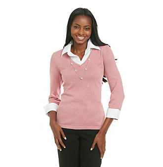 Homepage women notations layered look sweater shirt for Sweater and dress shirt combo