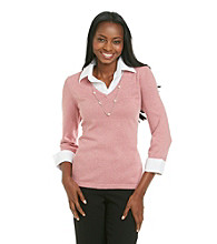 Notations® Layered-Look Sweater Shirt Combo