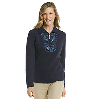 Studio Works® Petites' Brushed Zip Mockneck With Embroidered Front Yoke