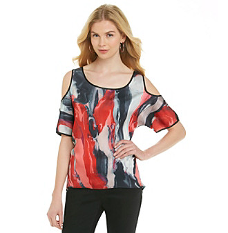 DKNY JEANS® Oil-Painting Cold-Shoulder Top