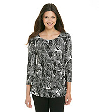 Rafaella® Printed Crinkle Tiered Top