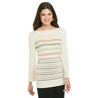 Cupio Shine Stripe Boatneck Sweater