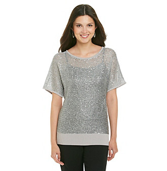 Cable & Gauge® Banded Bottom Sequin Pullover
