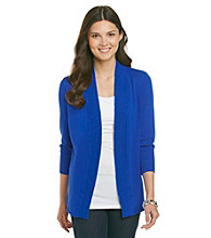 Laura Ashley® Petites' Ribbed Open-Front Cardigan