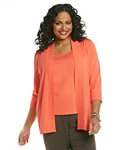 Laura Ashley® Plus Size Ribbed Open-Front Cardigan