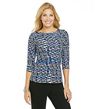 Laura Ashley® Shingle Print Balletneck Tee
