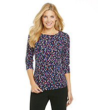 Laura Ashley® Dot Print Balletneck Tee