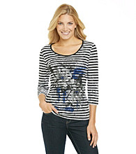Laura Ashley® Broken Stripe Floral Print Tee