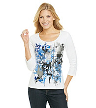 Laura Ashley® Box Print Embellished Tee