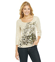 Laura Ashley® Striped Floral Scroll Tee