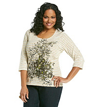Laura Ashley® Plus Size Striped Floral Scroll Tee