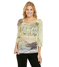 Laura Ashley® Petites' Brushed Animal Sublimation Top