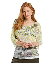 Laura Ashley® Plus Size Brushed Animal Sublimation Top