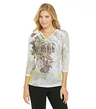 Laura Ashley® Lace Sublimation Drapeneck Top