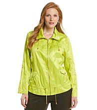 Laura Ashley® Plus Size Lemongrass Crinkle Anorak Jacket