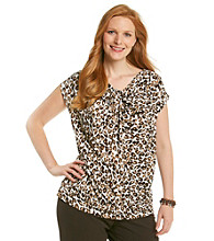Laura Ashley® Plus Size Brown Cheetah Twist-Neck Top