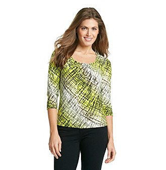Laura Ashley® Petites' Scratch Print Pintuck Top