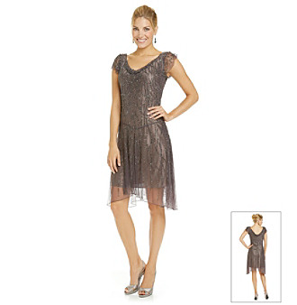 J Kara® Beaded Flutter Sleeve Cocktail Dress