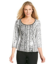 MSK® Floral Printed Beaded-Trim Top