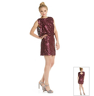 Jessica Simpson Elbow Sleeve Sequin Blouson