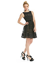 Jessica Simpson Crepe And Lace Little Black Dress