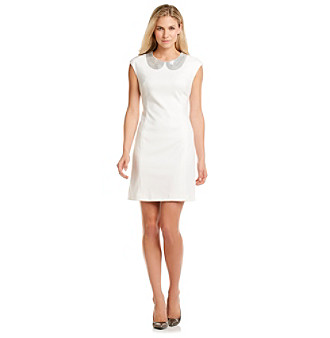 Calvin Klein Sequined Peter Pan Collar Sheath Dress