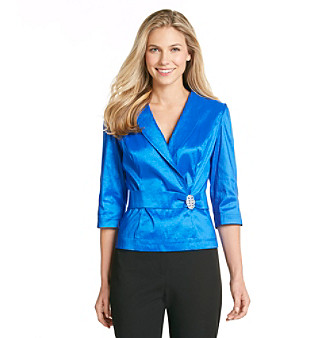 Alex Evenings® Taffeta Blouse With Brooch