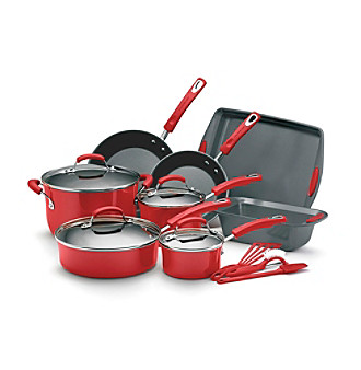 Rachael Ray® Red 15-pc. Porcelain Hard Enamel Nonstick Cookware Set