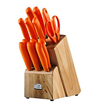 Chicago Cutlery Kinzie 14-pc. Orange Knife Set with Block