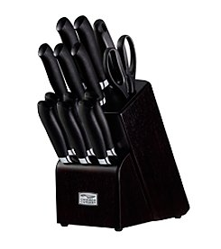 Chicago Cutlery® Kinzie 14-pc. Black Cutlery Set with Block