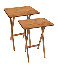Lipper International Set of 2 Bamboo TV Tray Tables