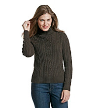 Jeanne Pierre® Petites' Cable Turtleneck Sweater