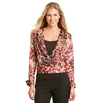 Anne Klein® Petites' Stepping Stone Print Draped V-Neck Top