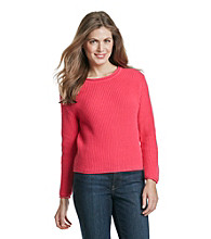 AGB® Petites' Shaker Knit Crop Sweater