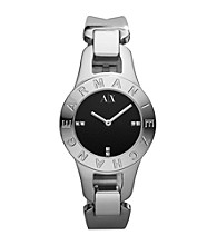 A|X Armani Exchange Silver Women's Stainless Steel Mini Bracelet Watch with Black Dial