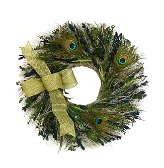 "The Christmas Tree Company 22"" Peacock Feathers Dried Floral Wreath"