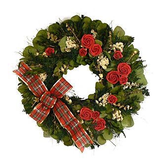 "The Christmas Tree Company 22"" Winter Rose Dried Floral Wreath"