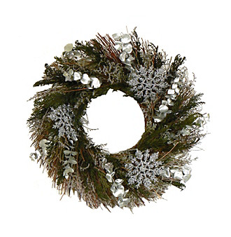 "The Christmas Tree Company 16"" Snowy Forest Dried Floral Wreath"