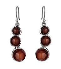 Hagit Gorali Sterlign Silver Earrings W/Carnelian Gemstone