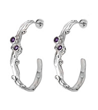 Hagit Gorali Sterling Silver Earrings W/Amethyst Gemstone