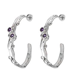 Hagit Gorali Sterling Silver Earrings W/Amethyst Gemstone