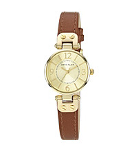 Anne Klein® Goldtone Case W/Honey Leather Strap