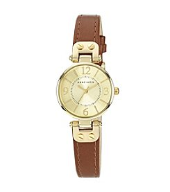 Anne Klein® Goldtone Case with Honey Leather Strap
