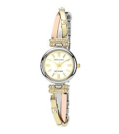 Anne Klein® Women's Tri-Tone Bangle Watch