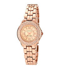 Anne Klein® Crystal and Rose Goldtone Bracelet Watch