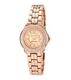 Anne Klein® Women's Crystal and Rose Goldtone Bracelet Watch