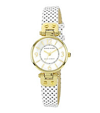 Anne Klein® White Leather Strap Watch