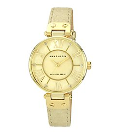 Anne Klein® Women's Goldtone Oversized Dial Strap Watch