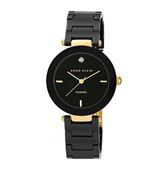 Anne Klein® Women's Black Round Ceramic Diamond Watch