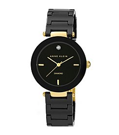 Anne Klein® Women's Black Round Ceramic Diamond Watch